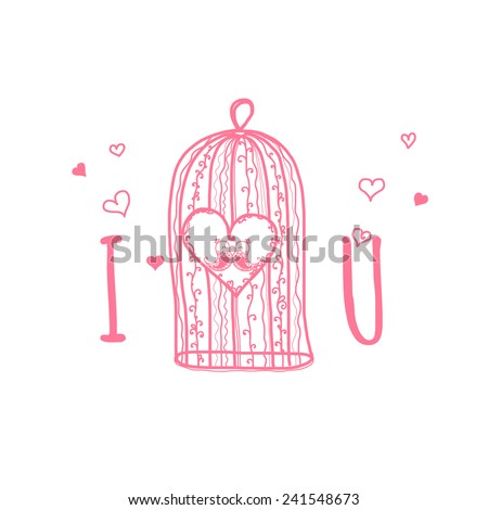 Happy Valentines day cards with ornaments, hearts, birds, cage and  frame. typography vector - stock vector