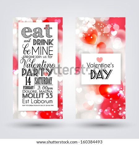 Happy valentines day cards with ornaments, hearts, ribbon, angel and arrow/ All you need is love - stock vector