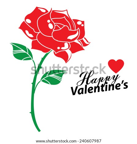 Happy valentines day cards with Rose - stock vector