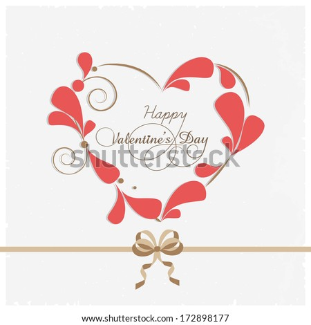 Happy Valentines Day concept with stylish heart shape decorated with pink petals on grey background.  - stock vector
