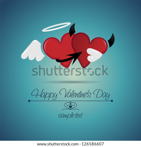 Happy Valentines Day. Cute angel and devil. Vector Greeting card - stock vector