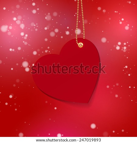 Happy Valentines day glowing background with paper heart on gold chain. Design Template for: greeting card, invitation, poster or banner. Vector illustration. EPS10  - stock vector