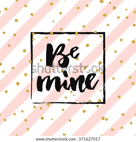 Happy valentines day - gold glittering hand drawn lettering design card with confetti pattern on diagonal striped background - stock vector