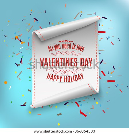 Happy Valentines day, greeting card template. curved, paper banner Vector illustration. - stock vector