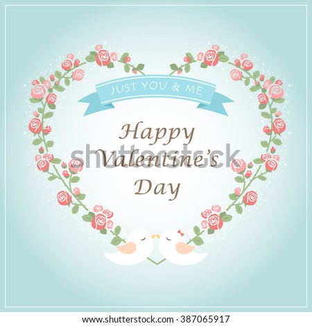 Happy Valentines Day. Greeting card with a floral heart shaped wreath in a tiffany blue background. romantic flowers, red & pink roses, tiffany blue ribbon and lover couple birds. vector illustration. - stock vector