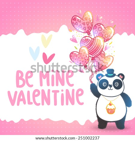 Happy Valentines day greeting card with cute fat panda holding heart shaped balloons. Adorable animal illustration - stock vector