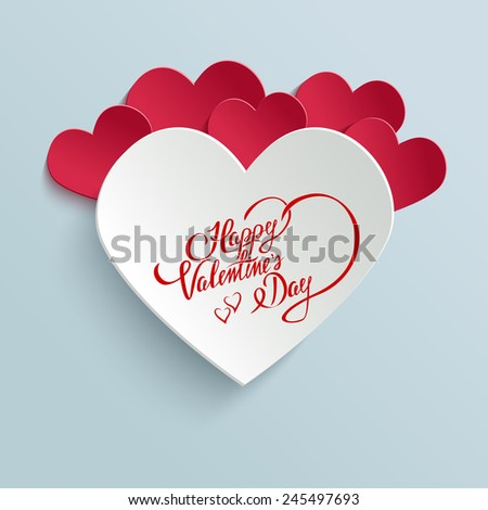 Happy Valentines Day Hand lettering Greeting Card on 3d Heart with Shadow. Typographical Vector Background. Handmade calligraphy - stock vector