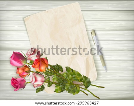 Happy Valentines day holiday card with paper and flowers over wooden background. EPS 10 vector file included - stock vector