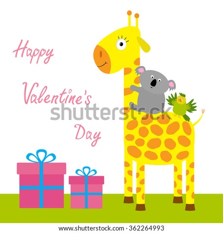 Happy Valentines Day. Love card. Cute giraffe, koala and parrot. Giftbox set Baby background Flat design. Vector illustration - stock vector