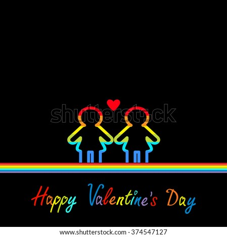 Happy Valentines Day. Love card. Gay marriage Pride symbol Two contour rainbow line woman LGBT icon Red heart Flat design. Black background. Vector illustration - stock vector