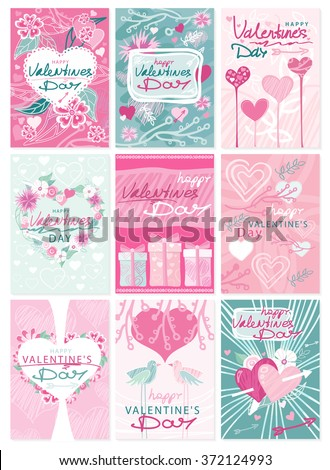 Happy Valentines Day party flyer posters. Hipster Valentines Day typographic tags and labels emblems and cards ornaments, hearts, ribbon and arrow. Greeting card poster, menu, party invitation - stock vector