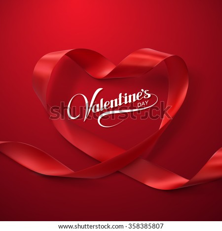 Happy Valentines Day. Red Ribbon Heart. Vector Illustration Of Looping Ribbon.  - stock vector
