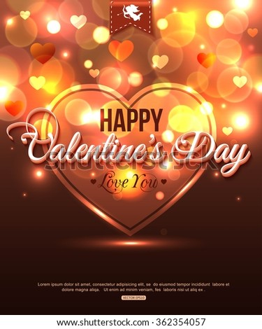 Happy Valentines Day romantic greeting card. Valentines Day background with blurred bokeh lights. Valentines Day shining heart. - stock vector