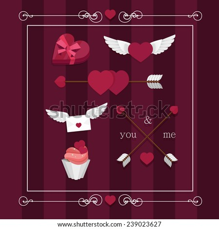 Happy valentines day set with hearts, wings, candy, gift, ribbon, bow, letter recognition, cake - stock vector