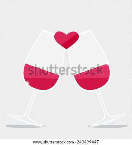 Happy valentines day. Two glasses of Red Wine with Heart . Vector Illustration - stock vector