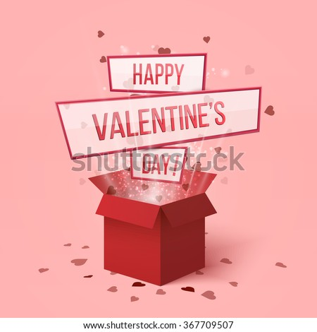 Happy valentines day.Valentines day gift box.Red hearts coming out from gift box. Set of red gift presents with flying hearts for holiday design.Hearts explosion.Love is in the air. Love box.Lettering - stock vector