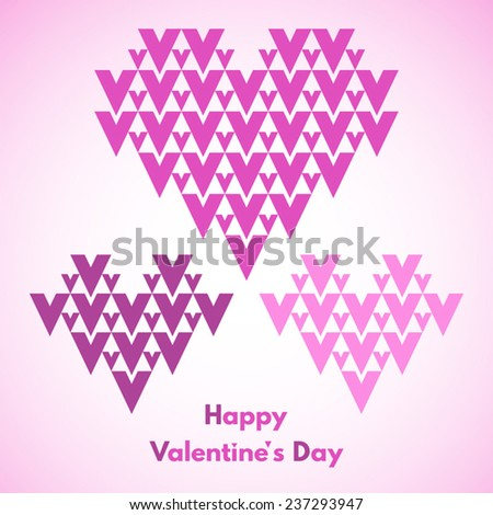 Happy Valentines Day vector greeting card. Abstract geometrical hearts with lettering. Conceptual, minimalist. - stock vector