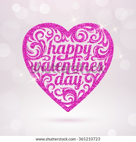 Happy valentines day - vector greeting card with glitter pink hearts - stock vector
