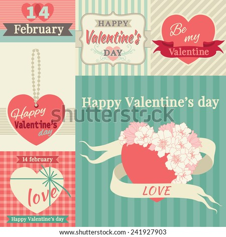 Happy valentines day! Vector set of borders at retro style  - stock vector
