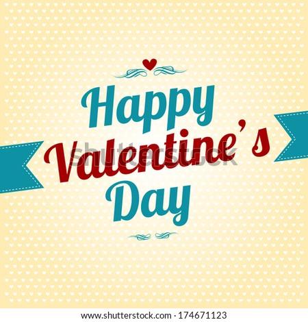 Happy Valentines Day vintage background - stock vector