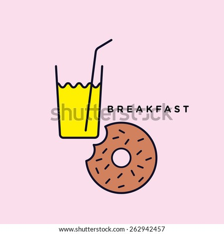 Happy vector graphic minimal icon of a donut with a glass of juice in vibrant colors - stock vector
