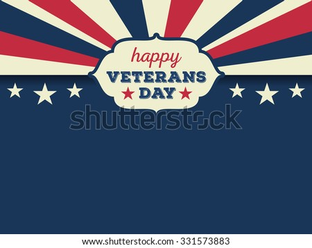 Happy veterans day horizon background. Vector illustration aspect ratio 4/3 - stock vector