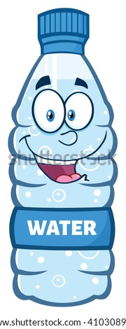 Happy Water Plastic Bottle Cartoon Mascot Character. Vector Illustration Isolated On White - stock vector