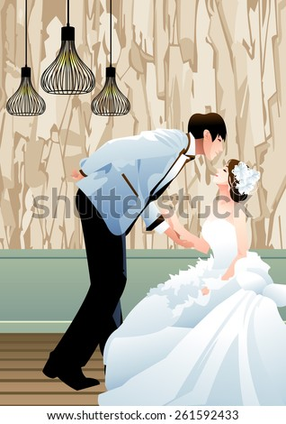 Happy Wedding Photo - standing handsome groom pose and join hand with sitting lover in a luxury studio on a background of decorative wall with abstract patterns and wooden floor : vector illustration - stock vector