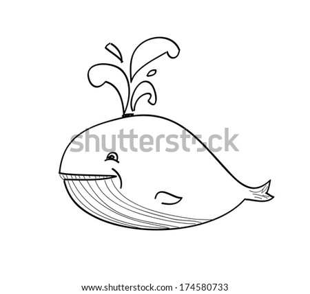 happy whale cartoon - stock vector