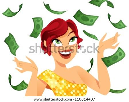Happy winner with money flying around her - stock vector
