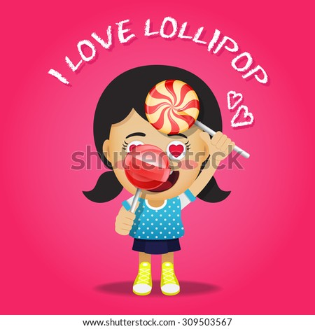 happy woman carrying big lollipops or candy on stick - stock vector
