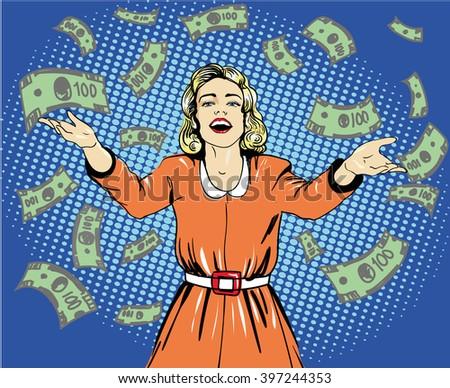 Happy woman throw money. Vector illustration in retro pop art style. - stock vector