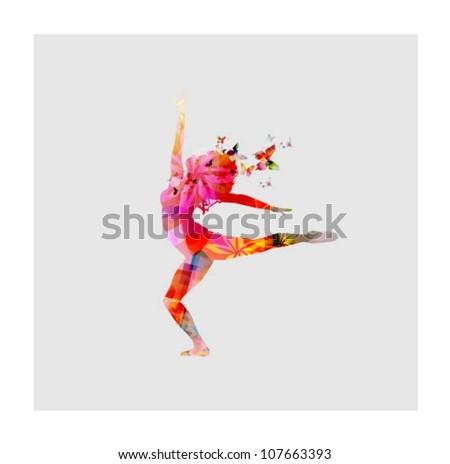Happy women dancing - stock vector