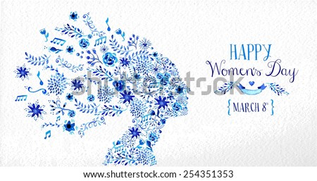 Happy Women Day vintage greeting card illustration. Woman head silhouette with diversity flowers and text 8th March. EPS10 vector file. - stock vector
