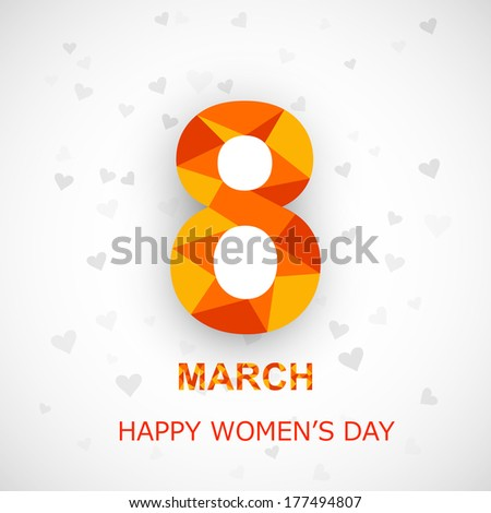 Happy Women's Day background with stylish colorful text 8th March creative design - stock vector