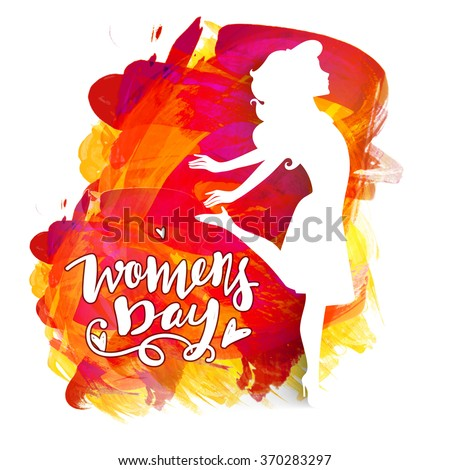 Happy Women's Day celebration concept with creative illustration of a young girl on colorful paint stroke background. - stock vector
