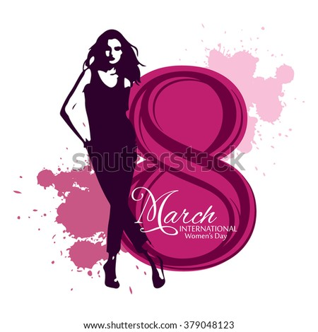 Happy Women's Day celebrations concept with stylish text and illustration of a women on elegant background / Happy Women's Day greeting card, gift card / vector illustration eps10 - stock vector