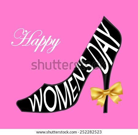 Happy Women's Day Design Element, Women's Day background with ladies shoe - vector eps1 - stock vector