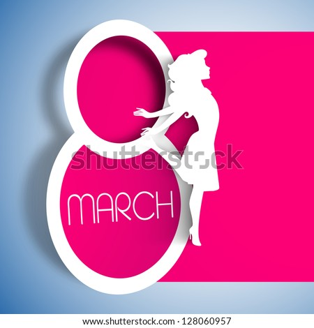 Happy Women's Day greeting card, gift card on pink background with design of a women and text 8th March. - stock vector