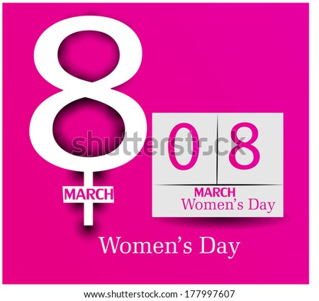 Happy Women's Day greeting card on  8 march Vector background - stock vector