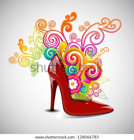 Happy Women's Day greeting card or background with a red ladies shoe on floral decorative background. - stock vector