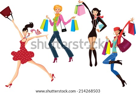 happy women with shopping bags - stock vector