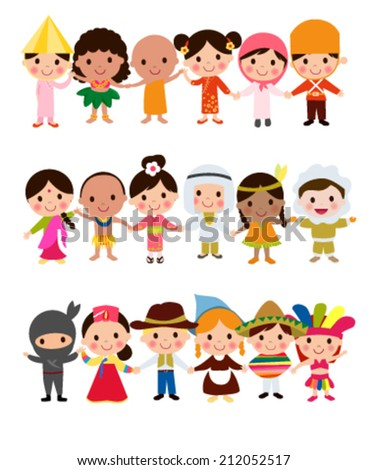 Happy World Kids Set with multicultural traditional costumes - stock vector