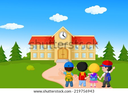 Happy young children walking together to school - stock vector