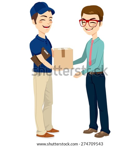 Happy young delivery man giving mail package to businessman - stock vector