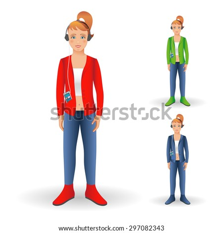Happy young girl standing smiling with cellphone and headphones. Full body girl isolated on white background. Vector illustration.  - stock vector