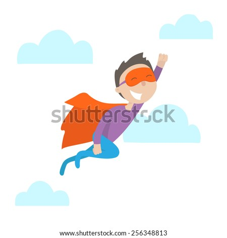 Happy young man in a suit superhero flies up. Flat design. Vector illustration. Isolated on white background. Freedom concept. - stock vector