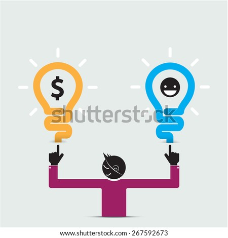 Happy young man symbol with creative light bulb idea concept. Business idea and success concept. Vector illustration - stock vector