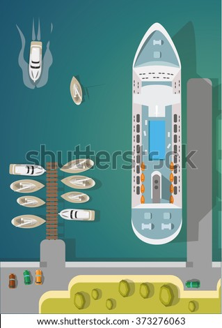 Harbor. Boats and a ship at the pier. Flat vector illustration. - stock vector