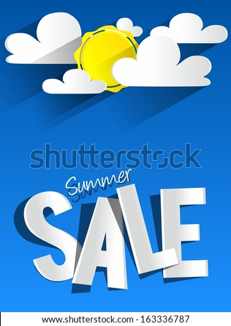 Hard Discount Summer Sale With Clouds And Sun vector illustration - stock vector